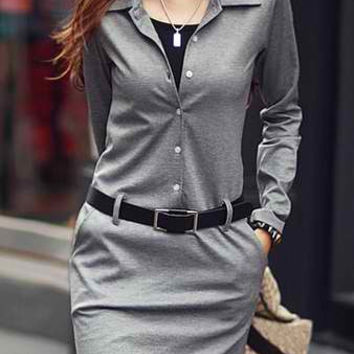 Gray Long Sleeve Mini Dress with Belt