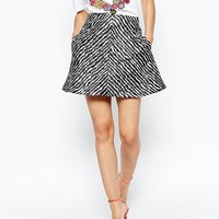 House Of Holland Zebra Print Jac Dolly Skirt