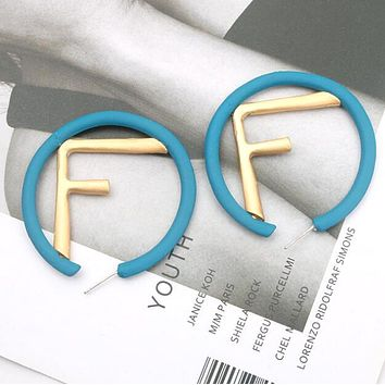 FENDI Stylish Women Personality F Letter Circular Earrings Jewelry Accessories Blue