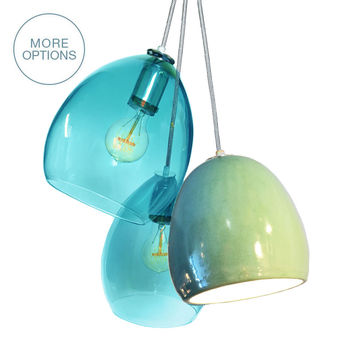 Celadon Porcelain Globe Clay & Hand Blown Aqua Glass 3 Pendant Chandelier