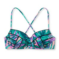 Women's Summer Strappy Back Halter Bikini Top - Violet Tropical - Shade & Shore : Target