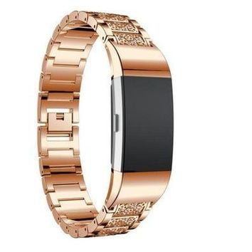 CREYRQ5 Smart Watches MM&I Luxury Crystal Stainless Steel Metal Wristband Strap Band For Fitbit Charge (Rose Gold)