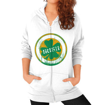 Irish four leaf dripping clover Zip Hoodie (on woman)