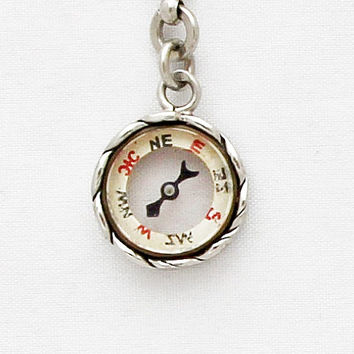 Vintage Pocket Watch Chain with Compass