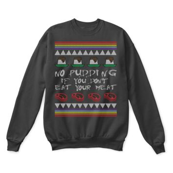 ESBINY No Pudding If You Don't Eat Your Meat Pink Floyd Ugly Sweater