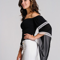 Jasmine Lace Trim Boho Bell Sleeve Top