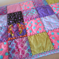Doll Blanket, Handmade Doll Quilt, Purple Pink Doll Bedding, Quilted Cat Dog Bed, Pet Bed Quilt, Olivia the Pig fabric, flannel doll quilt