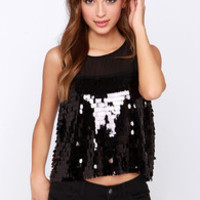 Off the Chainmail Black Sequin Top