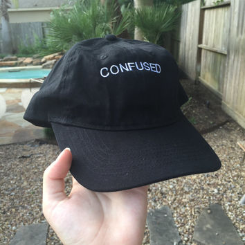 Confused Embroidered Baseball Cap in Pink, Black, White, Blue, or Tan