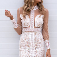 Emelia Mini Lace Dress- White/Nude