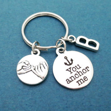 Personalized, Initial, Pinky, Promise, You anchor me, Anchor, Gift for boyfriend, Keychain, Keyring, Gift, Jewelry, Accessories