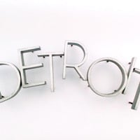 vintage DETROIT cast aluminum wall letters solid aluminum sign salvage reclaimed industrial metal
