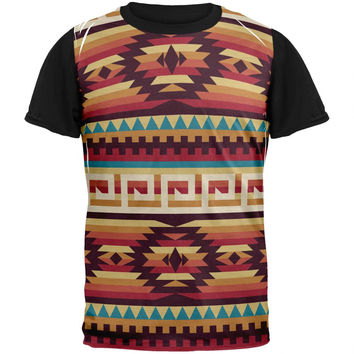 Native American Pattern Red Adult Black Back T-Shirt