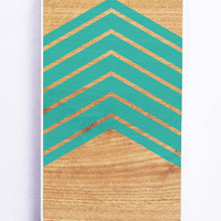 Wood With Mint Chevron for Iphone 5 / 5s Hard Cover Plastic