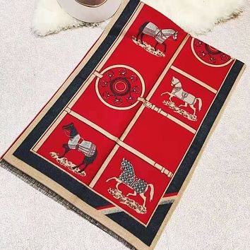 Hermes New Fashion Letter Horse Print Keep Warm Scarf Women Red
