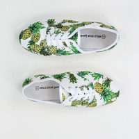 Web Exclusive: Pineapple Print Plimsolls Shoes in White
