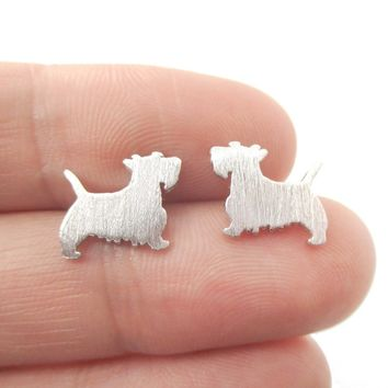 West Highland Terrier Dog Shaped Silhouette Stud Earrings in Silver | DOTOLY