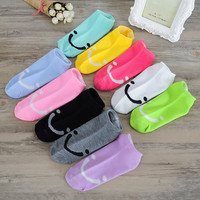 Candy Color Women Cute Socks Low Cut Smile Face Slippers Low Price Sock Cotton