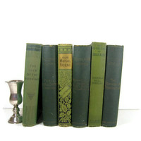 Small Decorative Antique  Green  Books for  Vintage Photo Props, Vintage Wedding Decor