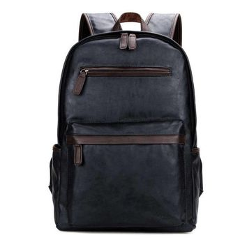 VICUNA POLO Brand Leather Mens Laptop Backpack Casual Daypacks