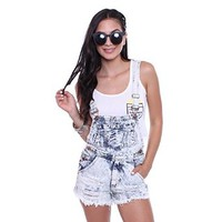 JU737 Acid Wash Denim Overall Shorts Junior's Clothing