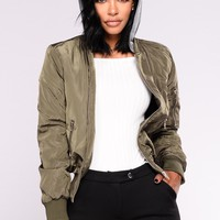 Christina Hooded Bomber - Olive