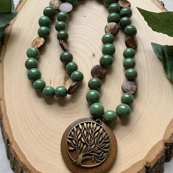 Beautiful wooden tree pendant necklace with 12mm green beads and hand carved wood beads/Perfect gift for that special someone!