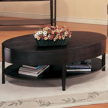 Oval Shaped Wooden Coffee Table With Lower Shelf, Cappuccino Brown
