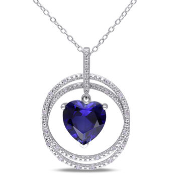10.0mm Heart-Shaped Lab-Created Blue Sapphire and 1/10 CT. T.W. Diamond Circle Pendant in Sterling Silver