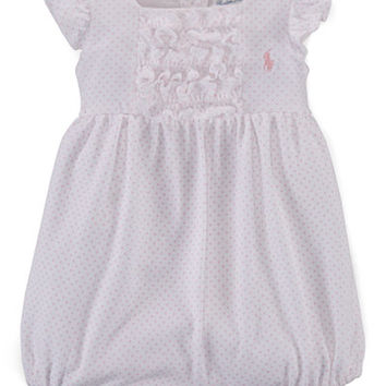 Ralph Lauren Baby Girls' Polka-Dot-Print Ruffled Shortall - Baby Girl (0-24 months) - Kids & Baby - Macy's