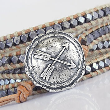 Double Arrow Jewelry, ONE Criss Crossed Arrows Button Clasp