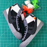 Off White X Nike Blazer Studio Mid Wolf Grey Black Sneakers Aa3832-001 Shoes - Best Online Sale