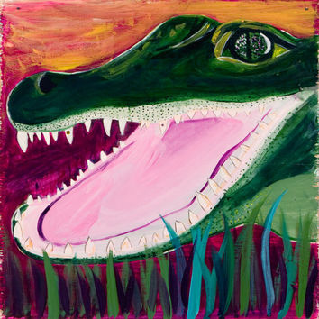 Louisiana Alligator 11x14 art Print Laughing Out by GatorGirlArt