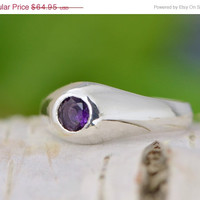 Christmas In July Mens Ring - Amethyst Jewelry - Sterling Silver Gentlemen's Ring - Round Amethyst - Round Bezel Set Ring - Purple Gemstone