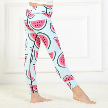 FRECIC Kids Watermelon Yoga Leggings Sports Pants for Girls Workout Fitness Tights for Children Teenagers Active  Mermaid Pants