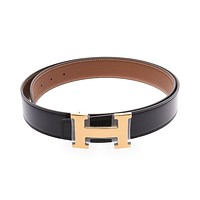 "HERMES H Belt 37.4 ""Reversible Black / gold goods 800000081817000"