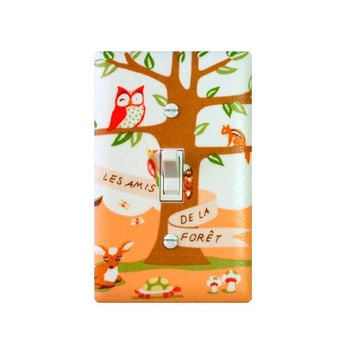SALE / Woodland Animals Light Switch Plate Cover / Peach Coral Baby Girl Nursery / Tree Owl Deer Turtle / Girl Boy Kids Room