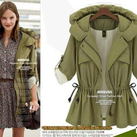 Long-Sleeve Drawstring Trench Coat