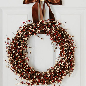Red and White Pip Berry Wreath, Front Door Wreath, Country Wreath, Rustic Wreath, Spring, Summer, Fall, Winter, Indoor Wreath