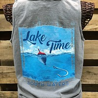 Backwoods South Waters Lake Time Fishing Bright Comfort Colors Unisex T Shirt Tank Top