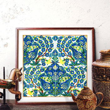 Ottoman Yellow Floral Motif Watercolor, Moroccan Wall Art, Mosaic Home Decor, Vintage Blue Carnation Prints and Original Painting 040