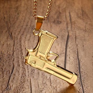 Pistol Gun Pendant Necklace