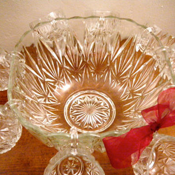 "Hazelware, Punch Bowl Set ""Celebrate"", Square Shaped Bowl & 12 Cups, Clear Glass with Diamond Star Cut Pattern, Ladle and Hooks Available"
