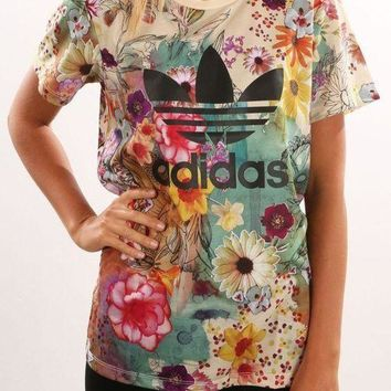 DCCKSP2 Adidas Women Fashion Floral Print T-Shirt