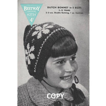 1940's Dutch Bonnet Pattern | INSTANT DOWNLOAD | Girl's Hat | Reproduction Vintage Bestway A2734 Knitting Pattern