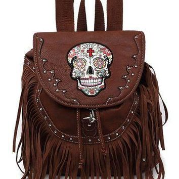 Sugar Skull & Studs Fringe Backpack