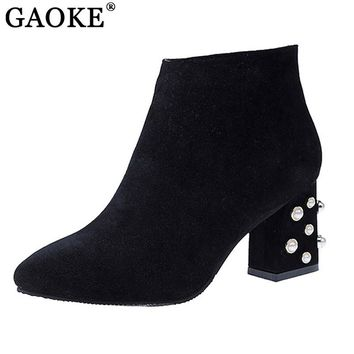 Brand Designer Pearl Ankle Boots Sexy High Heel Women's Winter Boots Side Zipper Shoes Woman Square Toe Female Shoes 2017