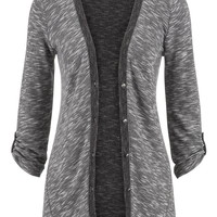 Contrast Trim Button Front Cardigan - Gray
