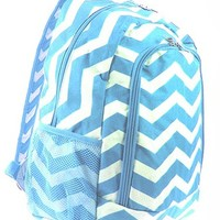 Chevron Print School Backpack Bookbag (Light Blue)