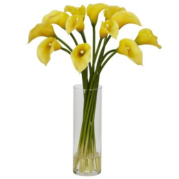 Artificial Flowers -Mini Calla Lily Flower Arrangement Silk Flowers